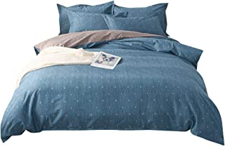 MKXI Blue Brushed Microfiber Duvet Cover Set with Dots, Reversible Striped Luxury Hypoallergenic King Winter Comforter Cover with Zipper Closure, 4 Corner Ties