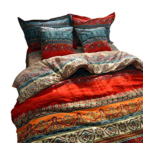 LELVA Boho Duvet Cover Set King Colorful Stripe Fitted Sheet Set Bohemian Bedding Set Baroque Style Bedding Set 4pcs
