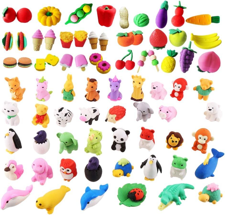 STOBOK Kids Pencil Erasers 3D Deluxe Animal Mini Fruit Japan Maker New Vegetab