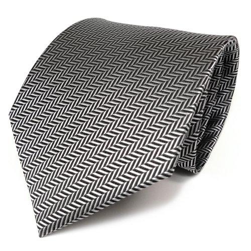 TigerTie - Corbata - plata gris-negro rayas