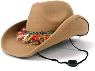 SAIPULIN-AU 2019 New Women Men Wool Wide Brim Hat Western Cowboy Hat with Tassel Ribbon Pop Fedora Hat Size 56-58CM (Color : Khaki, Size : 56-58)