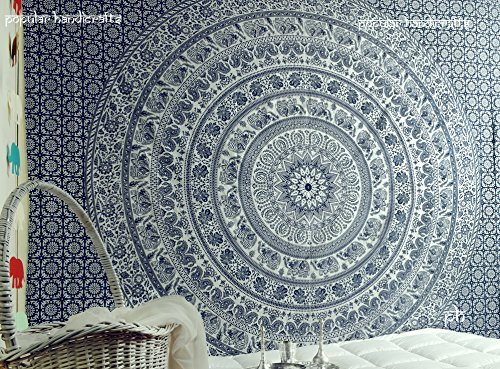 Popular Original Silver Elephant Tapestry Kp824 Indian Mandala Wall Art Hippie Wall Hanging Bohemian Bedspread With Metallic Shine King Size Tapestries Exclusively By Popular Handicrafts