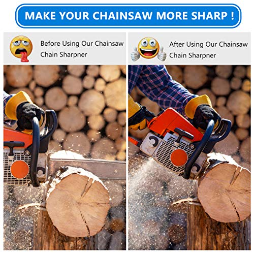 Mosteck Chainsaw Sharpener, 2 in 1 Easy File Chain Saw Blade Sharpener, Chain Sharp Filing Guide, Chainsaw Sharpening Kit - Use on .325 Chainsaw Chains
