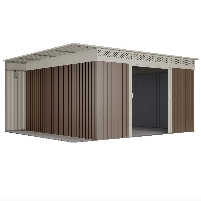Hoggar Caseta metálica gris cálido para almacenamiento 13, 22 m2 397x333x191cm: Amazon.es: Jardín