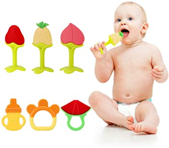 SLotic Baby Teething Toys 6 Pack - Silicone Natural Organic Freezer Safe Teethers for Newborn Infant, Soft & Textured...