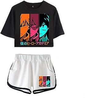 Kewing My Hero Academia Crop Top T-Shirt Shorts Suit Bakugou Katsuki Midoriya Izuku Deku Todoroki Shoto Set Due Pezzi per ...