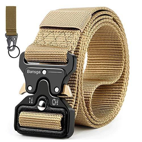 Taktischer Gürtel,Heavy Duty verstellbare Military Style Nylon Gürtel mit Zink Legierung Schnalle, militärischen Schnellverschluss Schnalle Taillenband(Khaki)