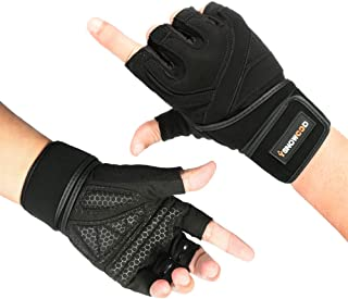 isnowood Weight Lifting Gloves - Padded Anti-Slip Silica Gel Grip, Gym Gloves for Powerlifting, Training, Exercise (Men & Women) with Free Portable Bag