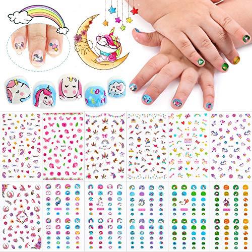 Kalolary 550+ Designs Einhorn 3D Nagelsticker Selbstklebend, Einhorn Nagelaufkleber Nail Art Sticker Nagelspitzen Abziehbilder für Mädchen DIY Nagel Kunst Dekoration