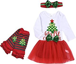 Holata Baby Girl Clothes Infant Outfit My 1st Christmas Newborn Christmas Tree Letter Tulle Dress Hairband Socks Set