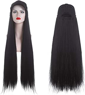 SARLA Hat Wigs Yaki Straight Long 32 Inch For Black Women Baseball Cap With Hair Attached Synthetic Hairpieces Hair Extens...