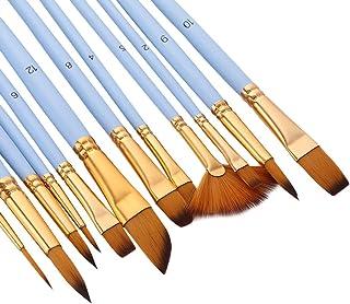 Sangmei 12 Pcs Detalhe Fino Tinta Pincel Conjunto De Dupla Cor Taklon Pincéis De Cabelo Para Pintura Acrílica Óleo Em Mini...