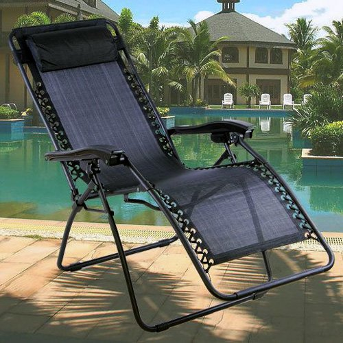 Negro Textoline Zero Gravity reclinable Silla de jardín Tumbona de £99,99