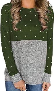 8a39362d180d1 Women Fashion Long Sleeve Shirt Polka Dot Print Casual Tops