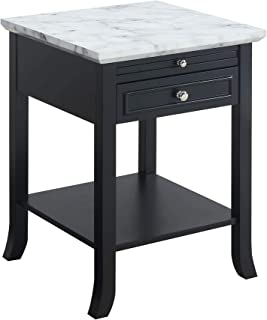 Convenience Concepts American Heritage Logan End Table with Drawer and Slide, White Faux Marble Top/Black