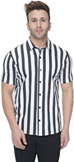 GRITSTONES White/Black Vertical Stripe Half Sleeves Casual Shirt GSHSSHRT2255WHTBLK_P