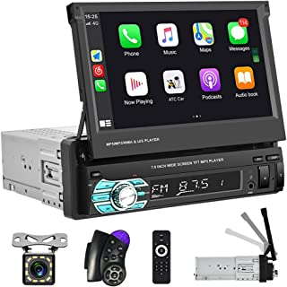 $139 » Hikity Single Din Car Stereo with Carplay Android Auto 7 Inch Retractable Touchscreen Car Radio Bluetooth FM Receiver, Mir...