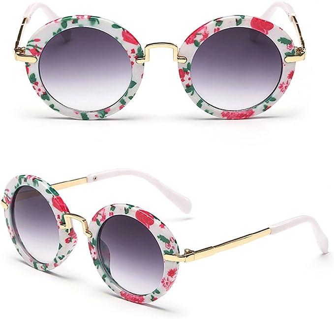 2pcs UV400 Sunglasses Round Goggles Glasses Gift Baby Kids Cute Flower