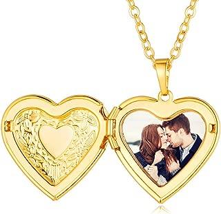 Custom4U Corazón Locket Personalizado Collar Guardapelo