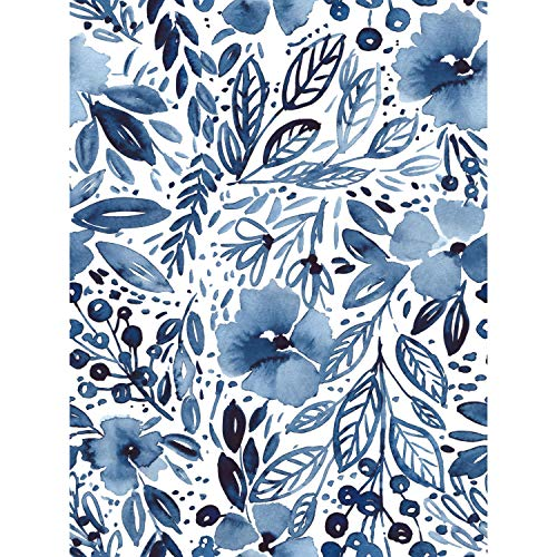 RoomMates Clara Jean April Showers Blue Peel and Stick Wallpaper | Removable Wallpaper | Self Adhesive Floral Wallpaper