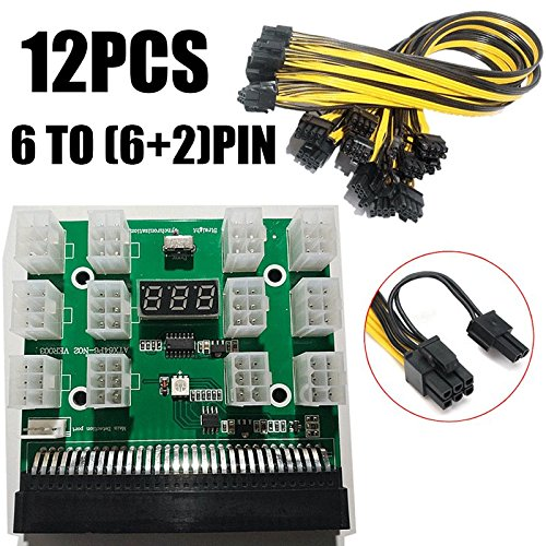 Ethereum ETH ZEC Mining Power Supply 12V GPU/PSU Breakout Board for HP 1200w/750w PSU with 12 pcs 18AWG PCI-E 6Pin to 6+2Pin Cables (21 inch, 50cm)