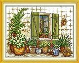Kits de punto de cruz contados -Ventana bonsai 40x50cm- Kit de bordado a mano con patrón de punto de cruz Diy Kit de bordado impreso Set decoración del hogar