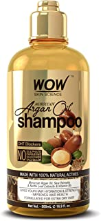 WOW Moroccan Argan Oil Shampoo With DHT Blockers - Restore Gloss, Reduce Frizz, Hair Loss - Clean Scalp, Stronger Hair - For More Shine, Soft, Smooth Hair - Silicones, Paraben, Sulfate Free - 500 mL