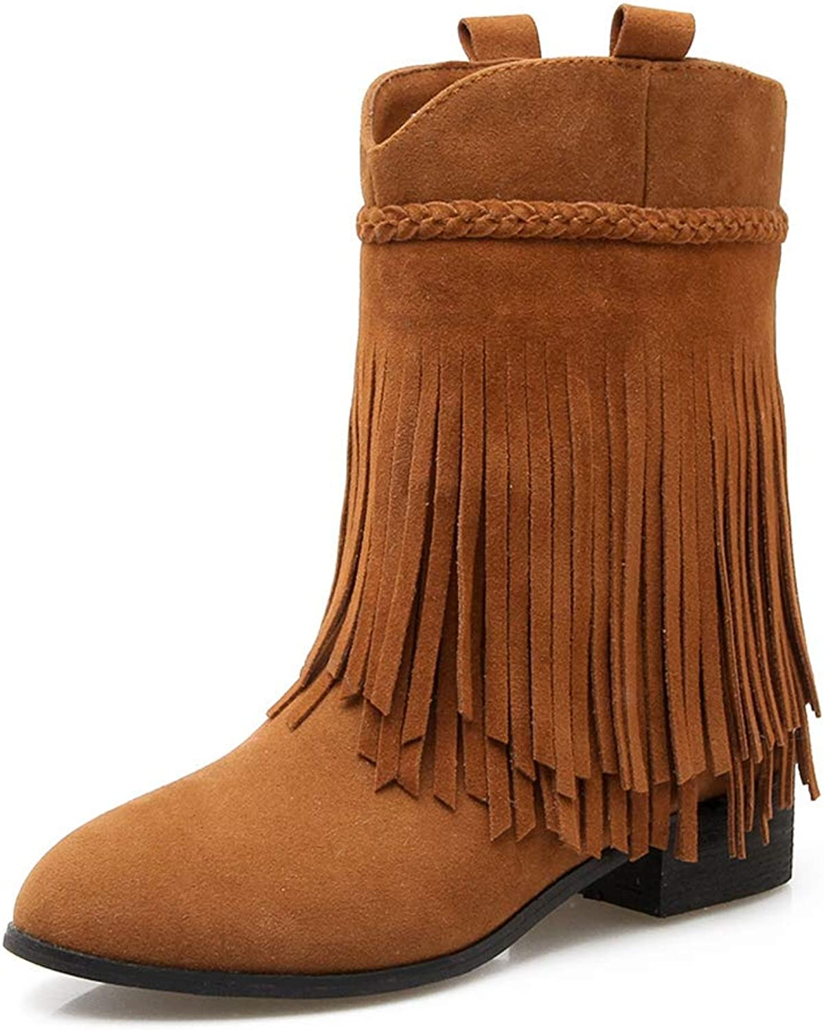 Kyle Walsh Pa Women's Tassel Boots Round Toe Square Heel Female Ankle Booties Plus Size Winter Flats shoes