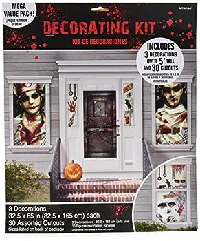 amscan Haunted Asylum Halloween Scene Setters Decorating Kit Plastic Pack of 33 Decorations Multicolor 3 /6 /7 /8 /9 /10 /11 /12 /15
