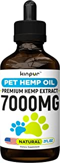 Kinpur Hemp Oil for Dogs & Cats - 7000mg - Premium Hemp Extract - Anxiety Relief for Dogs - Grown & Made in USA - Omega 3, 6 & 9 - Supports Hip & Joint Health - Natural Relief for Pain