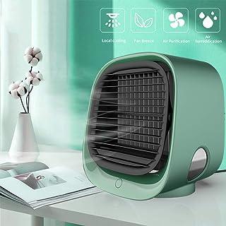 PAKASEPT Mini Aire Acondicionado, Climatizador Portatil con Tanque de Agua 300ml, Enfriador de Aire Alimentado por USB, 3 velocidades Ajustables, Mini Ventilador Humidificador para la Oficina en casa
