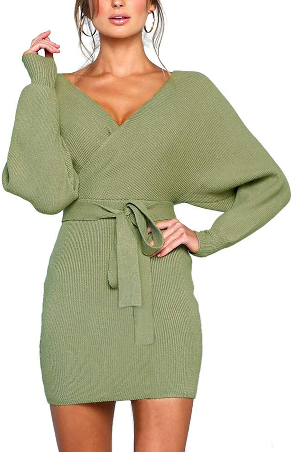 Ramoug Womens Sexy Cocktail Wrap Deep V Neck Batwing Long Sleeve Knitted Mini Sweater Dress with Belt