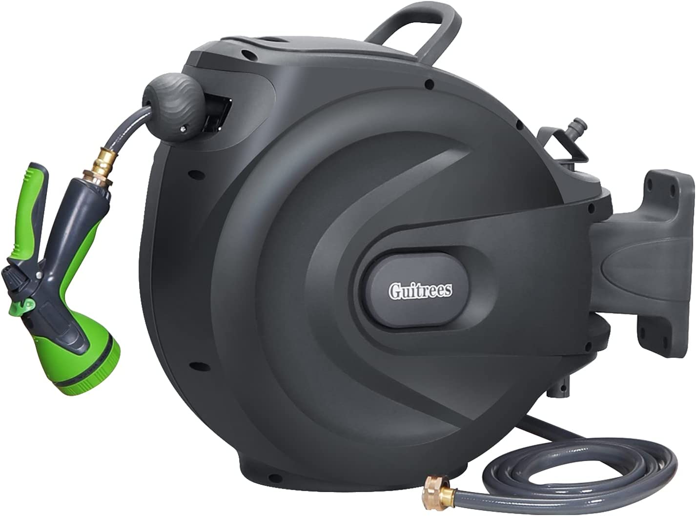 """Guitrees Retractable Garden Hose Reel 1/2"""" 100FT+6FT, Slow Return System, Any Length Lock, Wall Mounted, 9 Function Nozzle and 180°Swivel Bracket (Grey)"""