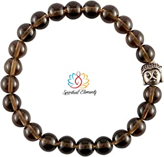 Spiritual Elementz Reiki Charged Gift Smoky Quartz (7-8 mm) Chakra Stretch Bracelet (21-24 Beads) Unisex for Healing (Ston...