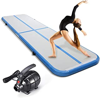 KUOKEL 10ft/13ft Inflatable Gymnastics Air Track Tumbling Mat 4 inches Thickness Airtrack Mat with Electric Air Pump for Cheerleading/Practice Gymnastics/Beach/Park/Home use