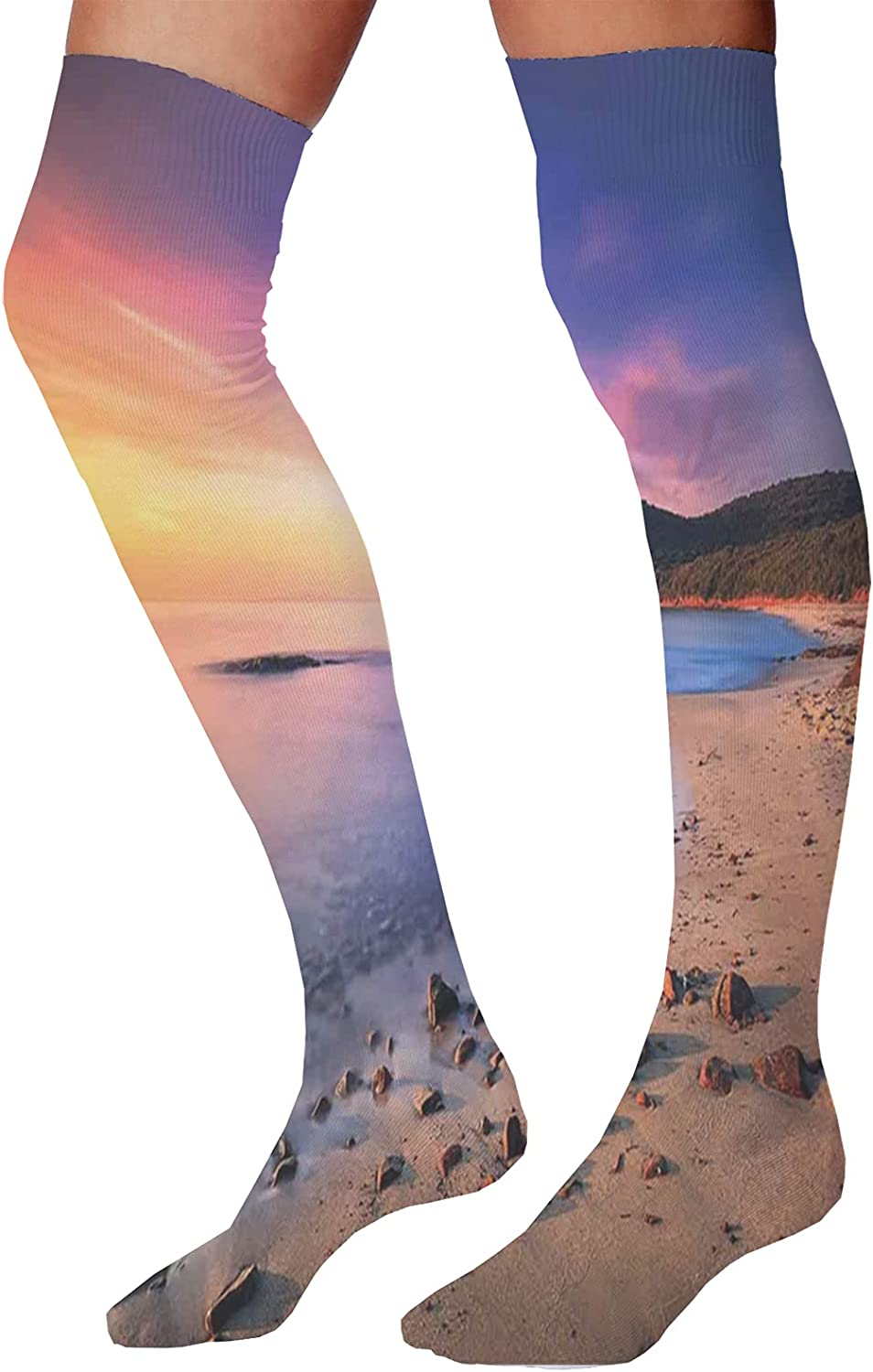Unisex Dress Cool Colorful Fancy Novelty Funny Casual Combed Cotton Crew SocksFamous Mediterranean Sun Rise on The Beach with Pebbles Tourism Serene View Print