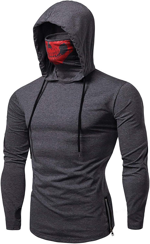 Mens Fashion Sweatshirt Slim Fit-ninjaTraining Sport Pullover Hoodie with Mask