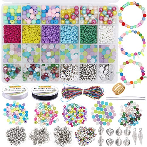 EuTengHao Jewelry Making Beads Kit-Craft Beads for Kids Girls Adult with 1685Pcs Colorful Acrylic Bead Frosted Beads Small Seed Beads Spacer Beads for DIY Bracelets Necklace Earring Jewelry Making Kit