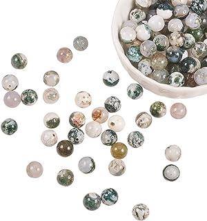 NBEADS 1 hebra Incluye 120 Piezas de 8 mm de Ágata Natural de Piedras Preciosas Redondas Cuentas de Piedra Sueltas con Ori...