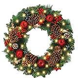 WANNA-CUL Pre-Lit 24 Inch Christmas Wreath for Front Door Farmhouse Christmas Door Wreath ...