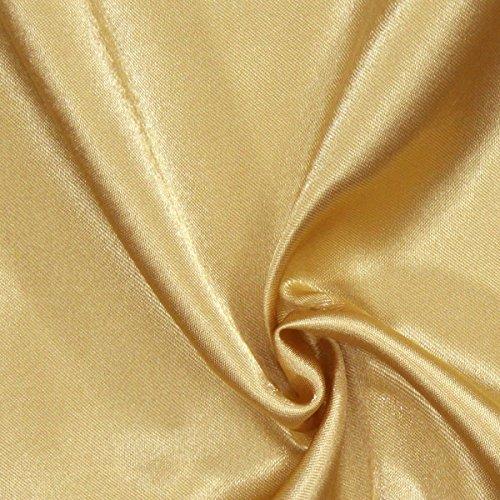 Fabulous Fabrics Satin altgold, Uni, 148cm breit – Satin zum Nähen von Kissen, Tischdecken und Bettwäsche – Meterware erhältlich ab 0,5 m