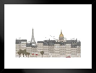 Poster Foundry Paris France Eiffel Tower Skyline Artistic Drawing Seamless Banner Matted Framed Art Print Wall Decor 26x20 inch