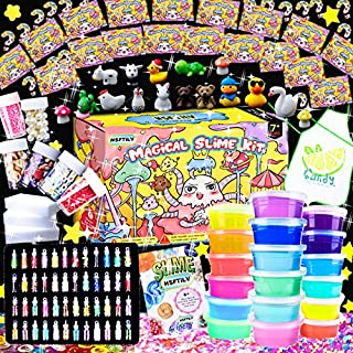 HSFTILV DIY Slime kit Supplies-2 Cloud Slime 8 Clear Slime 8 Butter Slime 2 Jelly Cube 48Glitter 4 Magic Clay with DIY Slime Tool and Slime Box