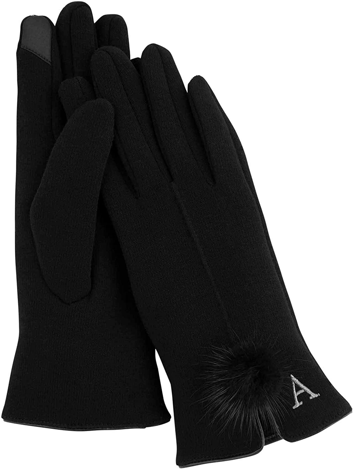 Mud Pie Women's Initial Poof Glove H, Black, One Size Fits Most