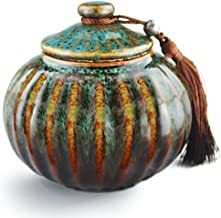 5.2 Medium-Sized Funeral Urn by Meilinxu- Midsize Cremation Urns for Human Ashes Adult- Hand Made in Ceramics and Hand-Fambe- Burial Urns at Home Or in Niche at Columbarium(Orange and Blue Fambe Urn