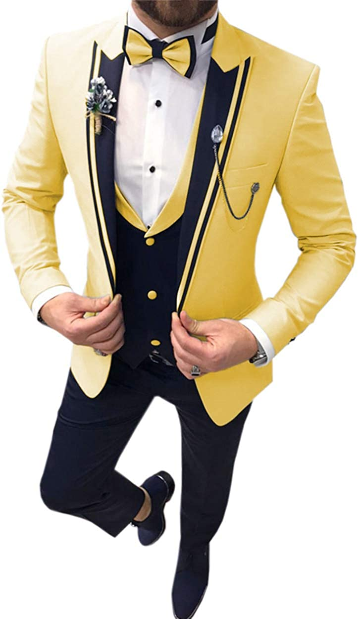 Men's Suits Slim Fit 3 Piece Prom Tuxedos Shawl Lapel Double Breasted Vest Blazer Pants Grooms Wedding Party