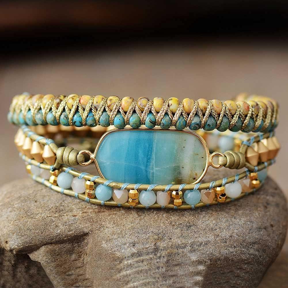 PHUONGDTB8888 - Minneapolis Mall Boho Beads Max 78% OFF Leather Wrap Ston Natural Bracelets W