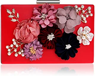 Ladies Banquet Bag with Flowers Pu Material, Safety Lady Clutch with Buckle, Fashionable Ladies Evening Bag for Formal Occasions (20 * 4 * 12Cm),Red