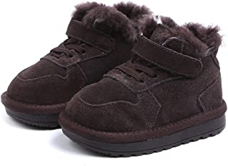 Kids Winter Warm Snow Boots Girl's Lined Boots Toddler PU Leather Waterproof Boot Pink Snow Boots (Color : Brown, Size : 28)