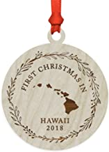 Andaz Press Custom Year Laser Engraved Wood US State Round Christmas Ornament, First Christmas in Hawaii 2019, 1-Pack, Includes Ribbon and Gift Bag, Custom Name